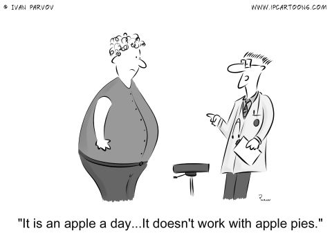 Doctor Cartoon #0020 - It is an apple a day...It doesn't work with apple pies.