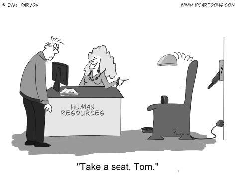 Office Cartoon #0022 - Take a seat, Tom.