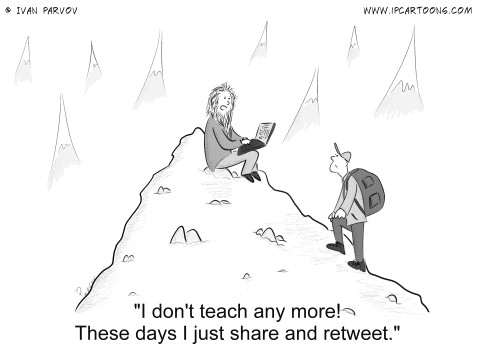 Wisdom Cartoon #0026 - I don't teach any more! These days I just share and retweet.