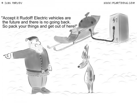 "Automotive Cartoon #0038 - ""Accept it Rudolf! Electric vehicles are the future and there is no going back. So pack your things and get out of here!"""